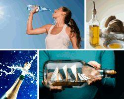 #Apensar mujer bebiendo agua. Aceite de oliva... ¿Qué será?
