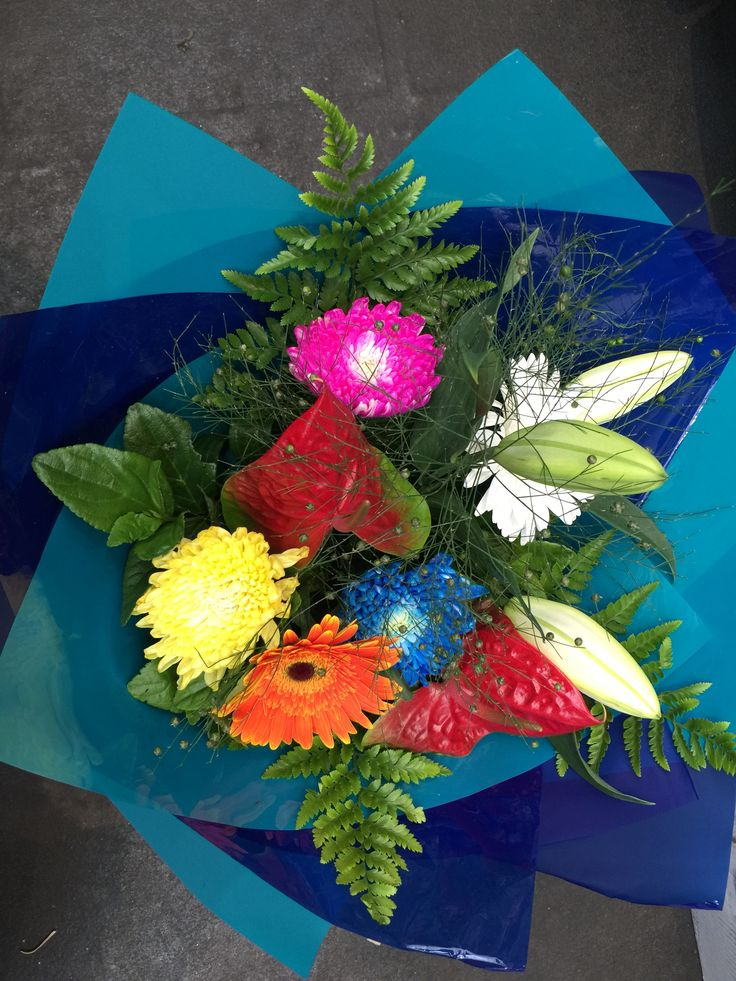 Colourful Bouquet with Disbud Chrysanthemums, Gerbera, Oriental Lily & Antheriums