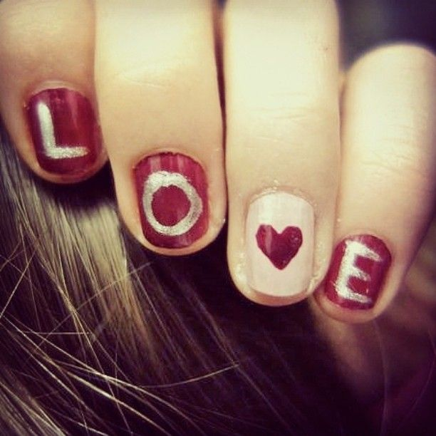 #nailspolish #nailart #neglelakk #nails #love #red #silver #heart #letters #easy #DIY #girly #madebyme #girl #sweet #cute #fun