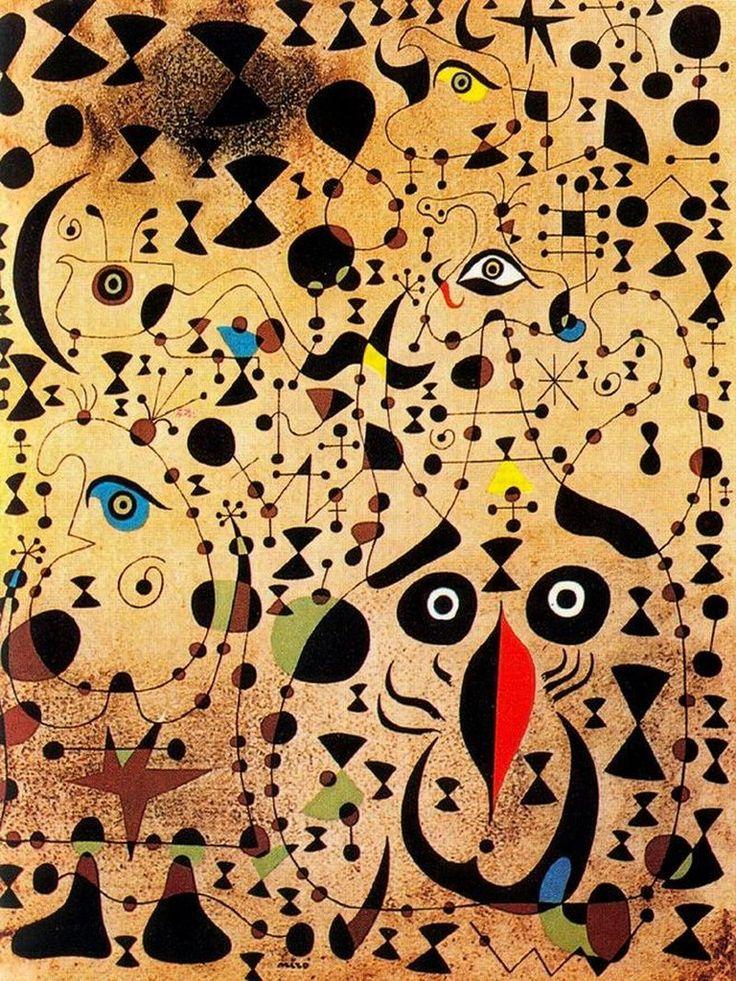 1941 El bello pajaro que descifra lo desconocido a una pareja de enamorados de Joan Miro