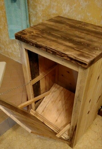 Pallet wood Trash container/Microwave stand $75. Call us at Rustic Decor &…