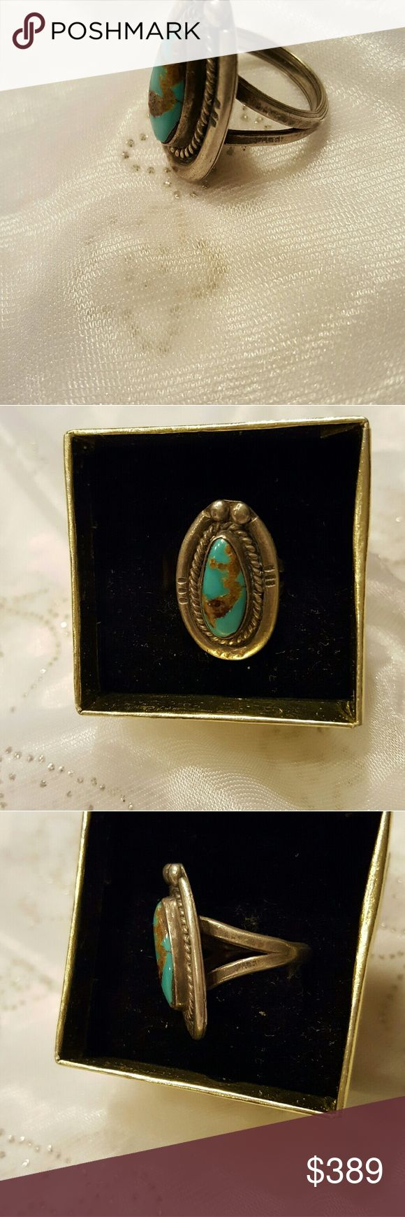 Vintage sand cast Navajo turquoise and silver ring beautiful Copper tone, gold, and brown natural colors in the stone set in a gorgeous decorative silver band Jewelry Rings