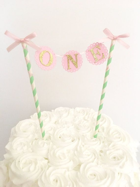 Pink Mint and Gold First Birthday Cake Topper ~1st Birthday Cake Topper~First Birthday Party Cake Topper~ Smash Cake Topper ~ First Birthday