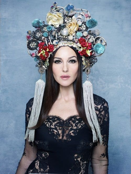 Monica Bellucci wearing Russian kokoshnik (traditional Russian head-dress) #russianstyle
