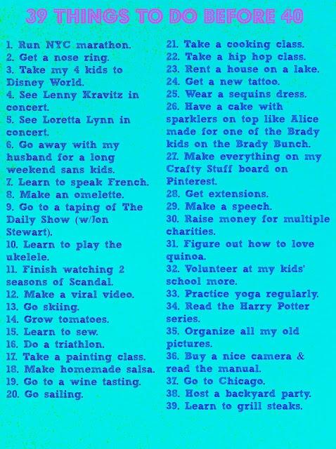 Birthday Bucket List- 39 Things To Do Before I Turn 40 #bucketlist #PinterestPoserChallenge #turning40