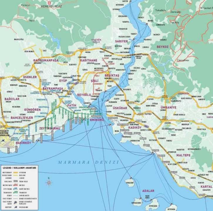 istanbul map optimized3 Le zone di Istanbul