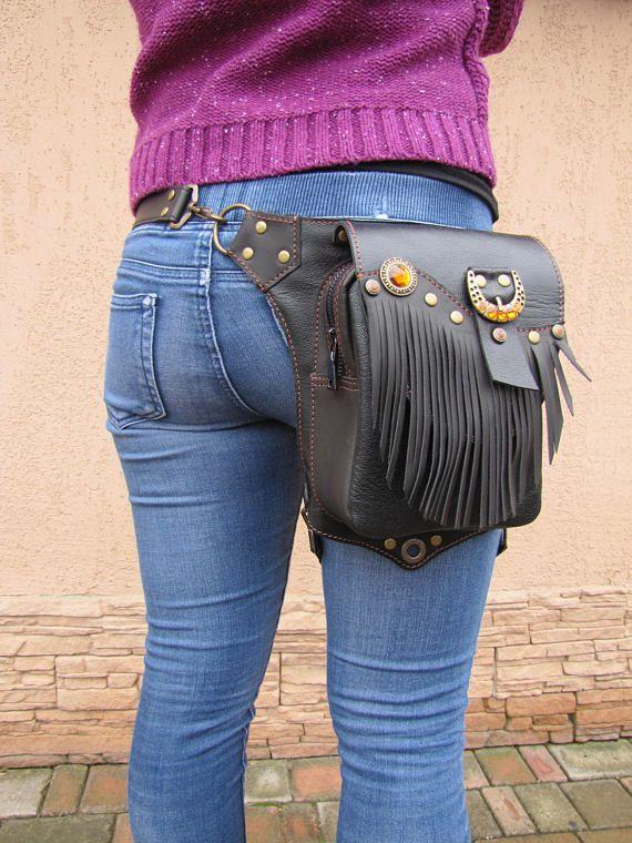 Holster Bag Leather Women Hip Thigh Leg Travel Boho