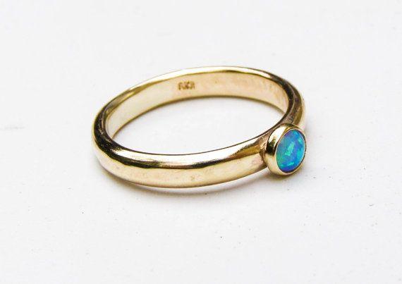 9k sólido anillo de oro anillo de compromiso de ópalo anillo