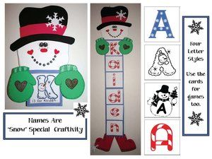 Snowman activities: FREE printables.  Students can make their name or spell welcome, joy, peace, love, winter etc.  Includes 4 sets of alphabet cards that you can also use for games.