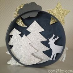 upcycling - boite camembert - tableau noel - papier
