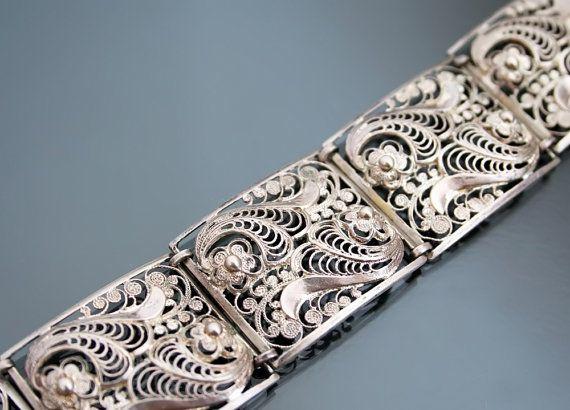 Art Deco 835 Silver Filigree Panel 24g Bracelet. Floral.