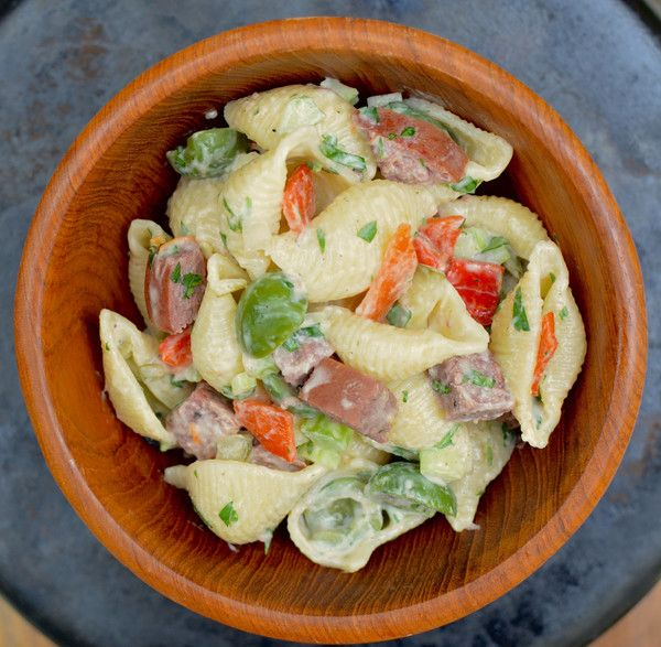 Award Winning Lone Mountain Wagyu Summer Sausage Pasta Salad Recipe.    Nothing screams summer BBQ like a cold pasta salad with the crisp of fresh vegetables and tang of vinegars balanced with a light creamy dressing. #beyondprime #lonemountainwagyu #summerside
