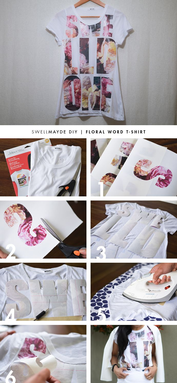 SwellMayde DIY | Phillip Lim Inspired Floral Word T-Shirt #tee