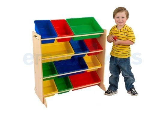 Opbergrek met 12 plastic bakken kinderkamer - opbergbakken speelgoed | Emob4kids