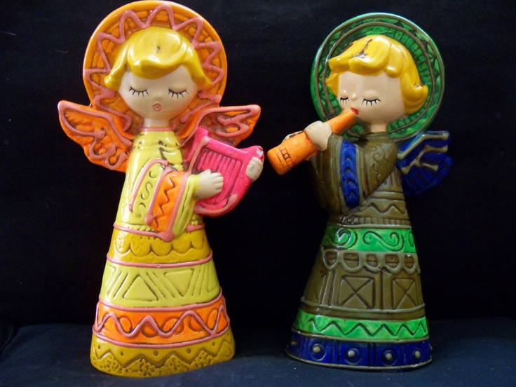 Colorful pair of vintage angel figurines by dickson quot made
