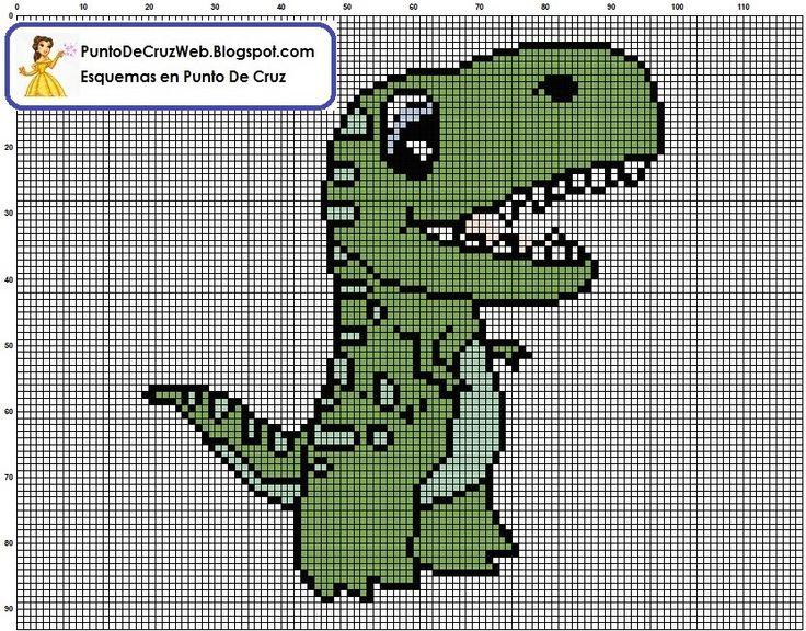 dinosaurio punto de cruz