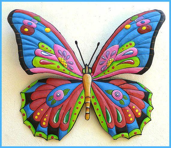 Painted Metal Art - Butterfly Wall Hanging, Whimsical Art Design, Outdoor Garden Decor,  Funky Art, Metal Wall Art, Haitian Art- J-903-BL
