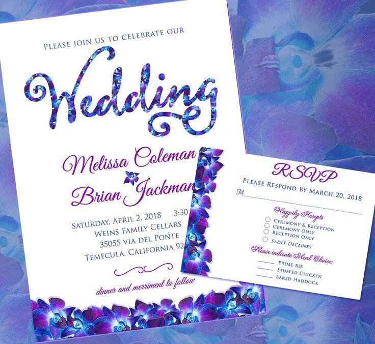 Orchid Design Wedding Invitations, Floral Wedding Invitation Suites, Custom, Blue Purple Orchid Theme, Belly Bands, Invitation Suites by SaveTheDateMagnets4U on Etsy