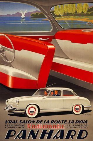 """Panhard Dyna, Vrai """"Salon de la Route"""" poster, 1954. La Dyna est d'origine équippée avec Radiomatic, le leader de l'auto-radio. Illustrated by Alexis Kow, this vintage 1954 poster shows the exterior a"""