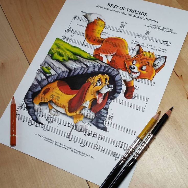Disney Characters Drawn on Music Paper of The Song of the Movie They Are From – Fubiz Media