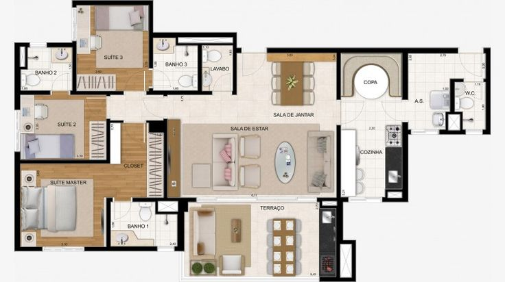 Apto de 122 m² com 3 suítes + lavabo