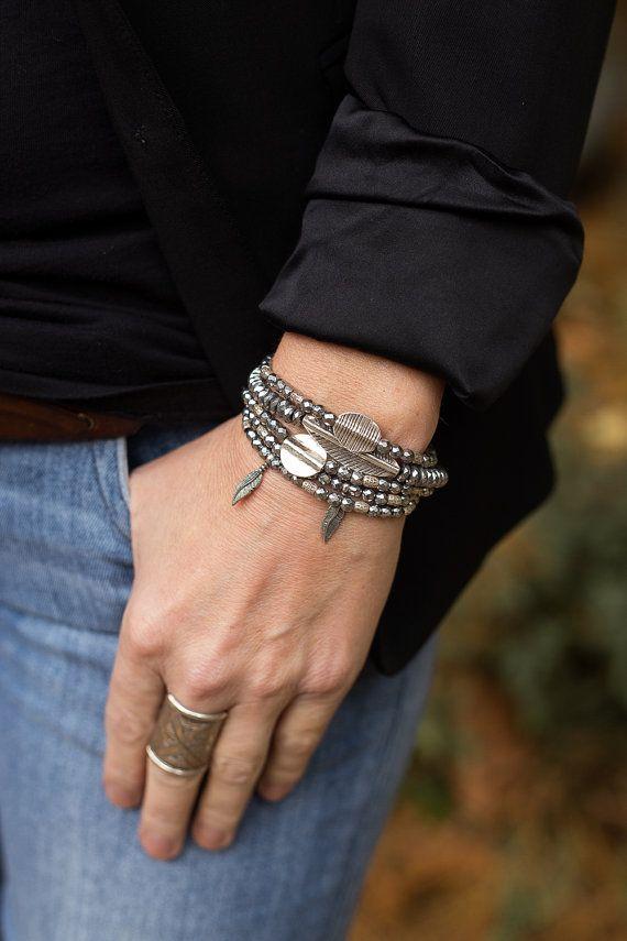 Bracelet Stack Boho Bracelets Feather by AlisonStorryJewelry