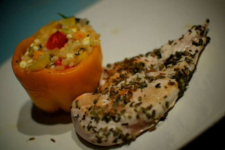 Couscous and Feta Stuffed Peppers. Go easy on the fennel seed, and ...