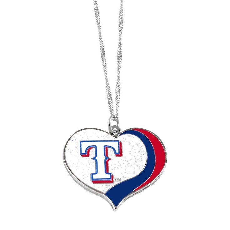 Aminco MLB Texas Rangers Sports Team Logo Glitter Heart Necklace Charm Gift