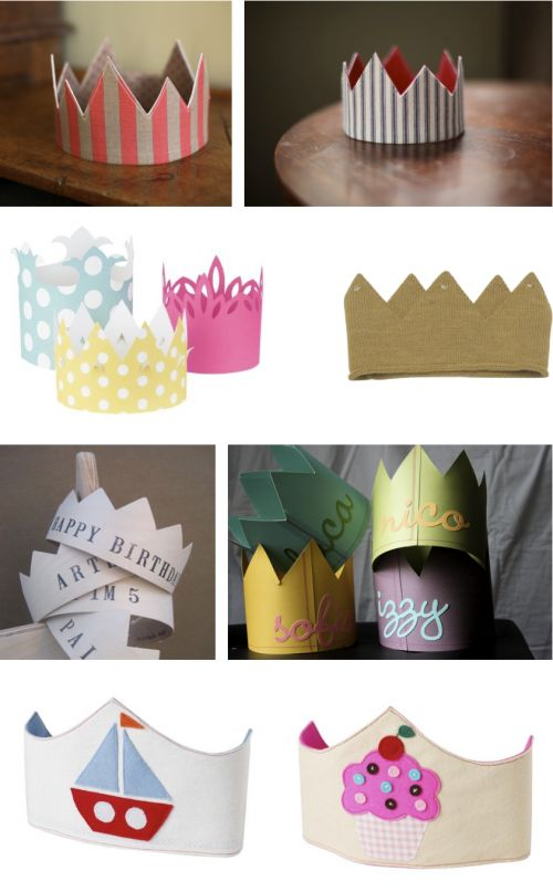 DIY party crowns. No way he will wear a crown, but maybe make the top two versions for the tickle trunk at the photo booth.