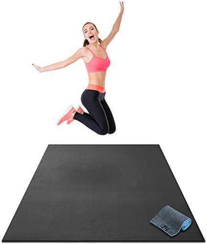 """Premium Large Exercise Mat - 6' x 4' x 1/4"""" Ultra Durable, Non-Slip, Workout Mats for Home Gym Flooring - Plyo, HIT, Jump, Cardio Mat - Use With or Without Shoes (72"""" Long x 48"""" Wide x 6mm Thick)  INSTANT HOME GYM IN ANY ROOM - Goodbye gym membership. Just unstrap and unroll to transform any room in your house into your very own home gym. Our mat is large enough for any workout including P90x, Insanity, T25, Plyometrics, Zumba, and more!  THICK, DOUBLE-SIDED DESIGN - High-density, non-..."""