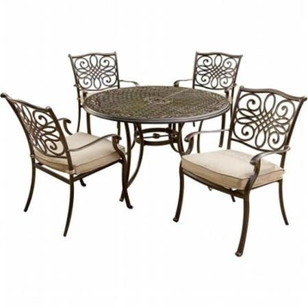 Hanover TRADITIONS5PC Traditions Outdoor Patio Dining Set - 5 Pieces (4 Aluminum Cast Dining Chairs, 48'' Round Table)