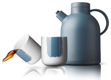 "Kettle Thermo, Storm + 2 Paint Thermo Cups  	 ""What's not to love about this updated tea set? The kettle keeps drinks warm, and the spout is specially designed to be drip free. Paired with the minimally embellished cups, it's a gift any tea drinker would be most happy to receive. """