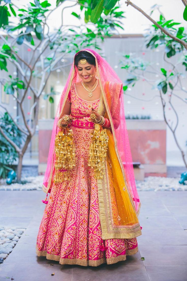 bright pink bridal lehenga by Shyam Narayan Prasad Pink