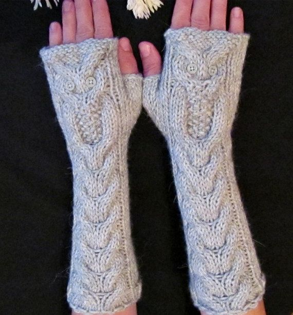 Alpaca Owl Light Gray Long Hand Knitted Arm Warmers by NastiaDi