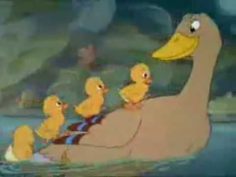 Fairy Tales: Hans Christian Andersen 'The Ugly Duckling' - Animated Disney Version 1939.  The story of a swan ciglet that gets mixed up with a duck family and is mistaken for an UGLY duckling but grows up to be a beautiful swan.  'Don't judge a book by its cover' or 'Things aren't always what they see'.
