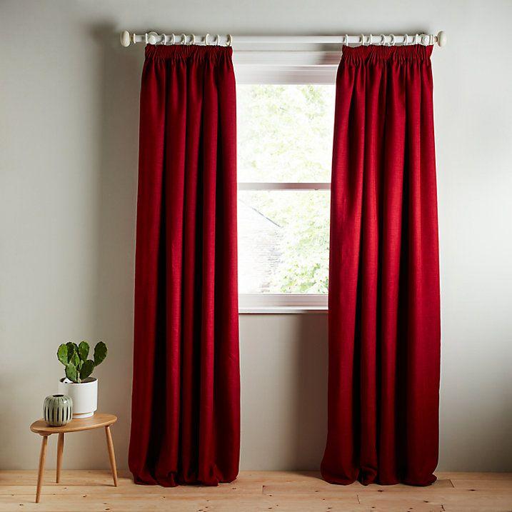 Buy John Lewis Barathea Blackout Lined Pencil Pleat Curtains, Claret, W135 x Drop 137cm Online at johnlewis.com