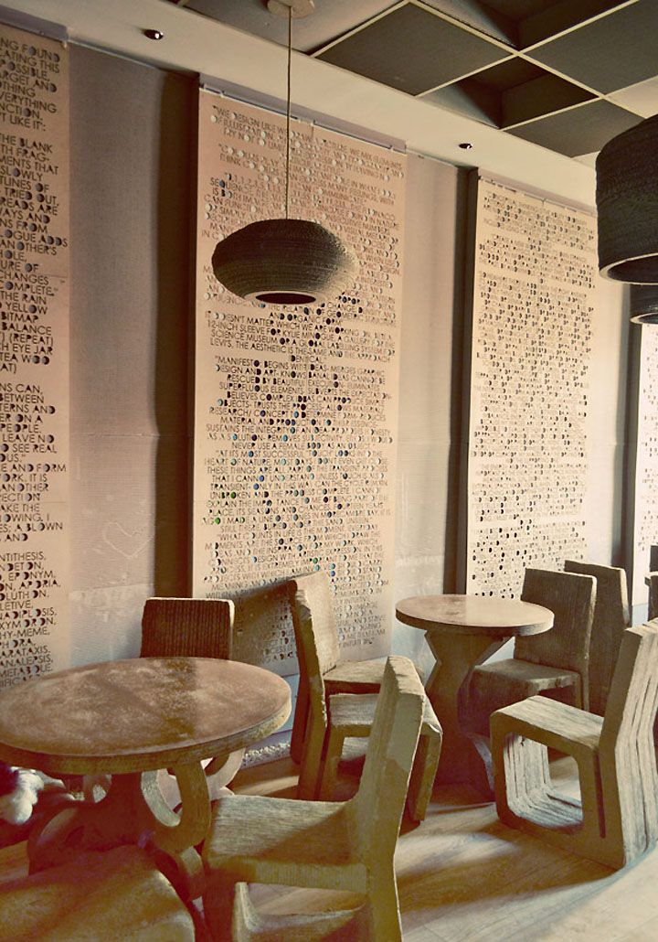 L'Atelier Cafe, Cluj   Romania store design. A simple, yet dramatic way to spruce up an otherwise empty wall. Neat!