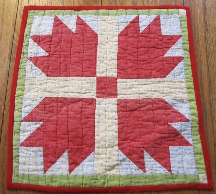 Antique PA c 1890s Bears Paw TABLE Doll Quilt Turkey Red #1