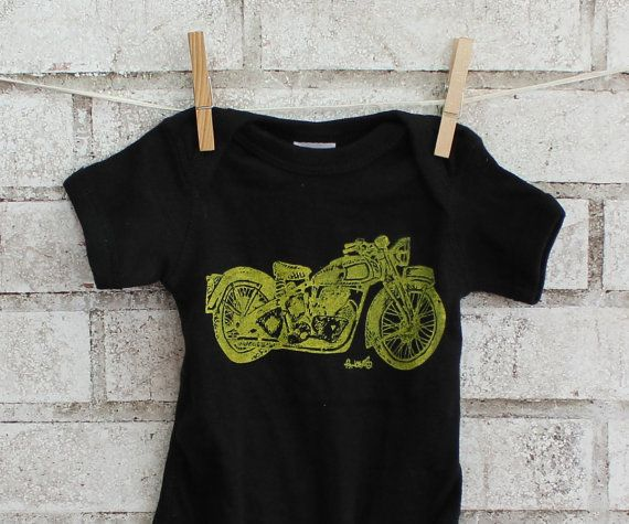 Motorcycle baby cotton Onepiece Triumph by CausticThreads on Etsy