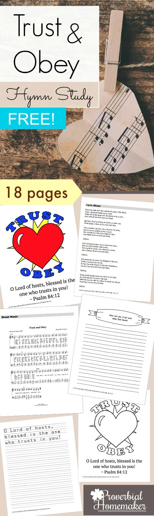 Trust and Obey Hymn Study (FREE!) LOVE this hymn. What a great one to teach the kids - learn how to trust God and obey Him. Would be wonderful for family worship or homeschooling, too.