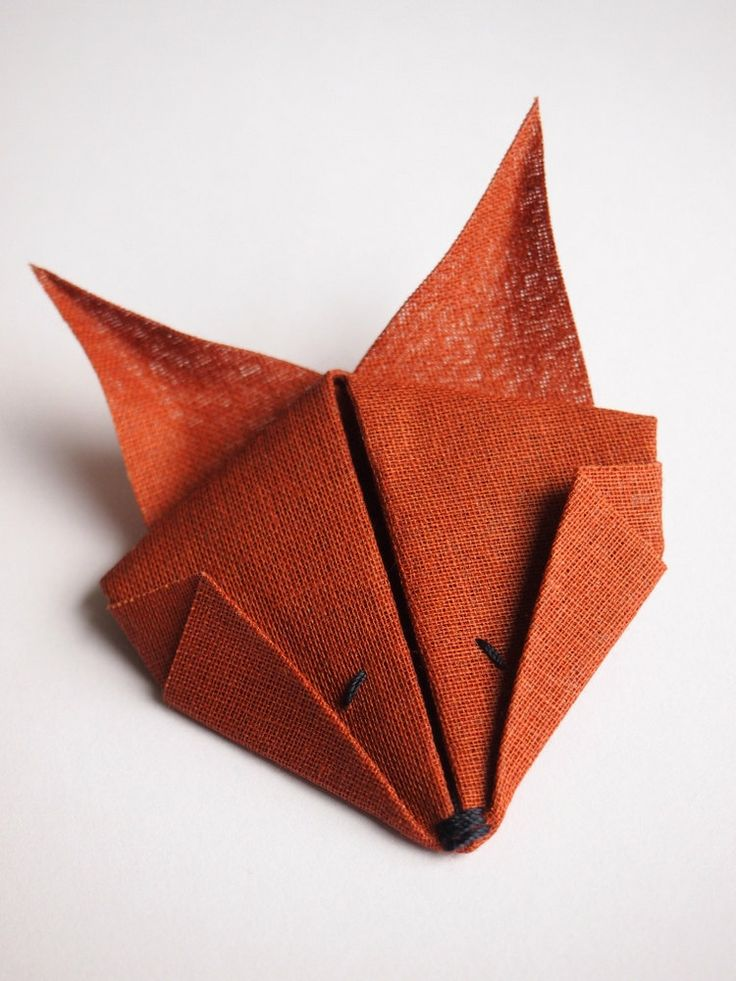 Fox Brooch. Red Brown Cotton Textile Origami Animal Brooch Pin. £7.50, via Etsy.