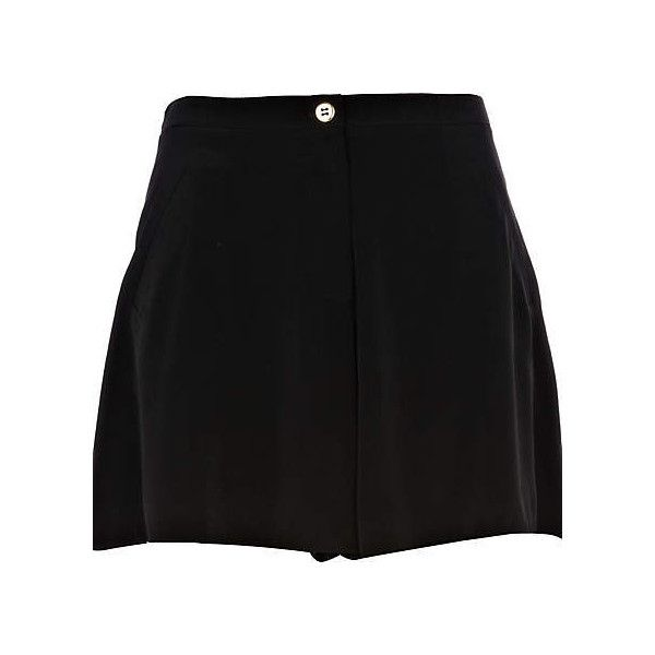 black high waisted shorts - smart shorts - shorts - women - River... ($20) ❤ liked on Polyvore featuring shorts, black, high-rise shorts, river island, high waisted shorts, highwaist shorts and high rise shorts