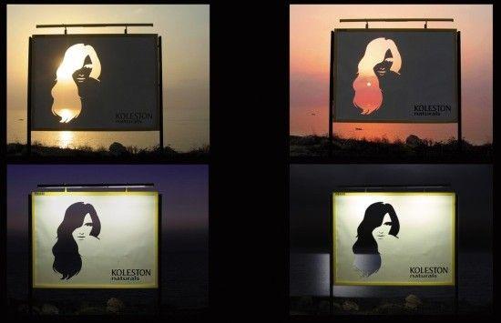 Reklama Koleston Naturals, farby do włosów. Dzięki innowacyjnemu podejściu do billboardu, udało się osiągnąć niesłychany efekt. O różnych porach dniach zmienia się również kolor włosów na reklamie.