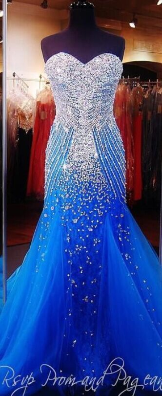 2017 Luxury Blue Mermaid Prom Pagea