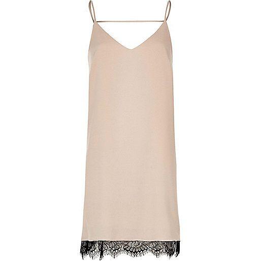 Grijze slipdress met kanten inzetstuk - cami jurken - jurken - dames