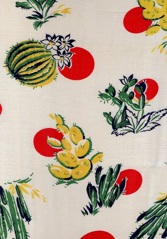 Vintage Retro 1940s Cotton Fabric Floral by AdeleBeeAnnPatterns, $18.00