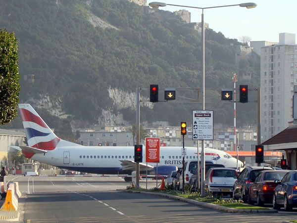 Airport with Road across Runway | Gibraltar Airport, Gibraltar