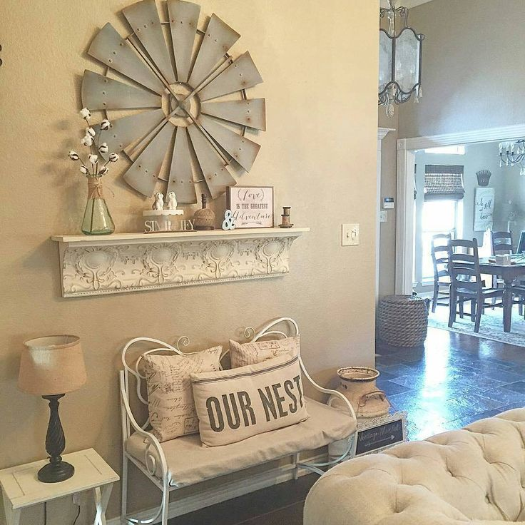 Cindy's decorating style is just lovely, and our Antique Farmhouse #windmill looks gorgeous on her wall. #homedecor #decoratingideas