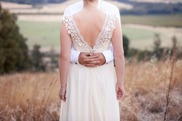 Cream Georgette Wedding Dress with Guipure Lace detail by Janita Toerien. Photography by Tasha Seccombe.