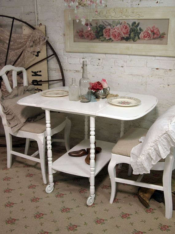 Painted Cottage Shabby White Tea Cart / Table by paintedcottages, $130.00